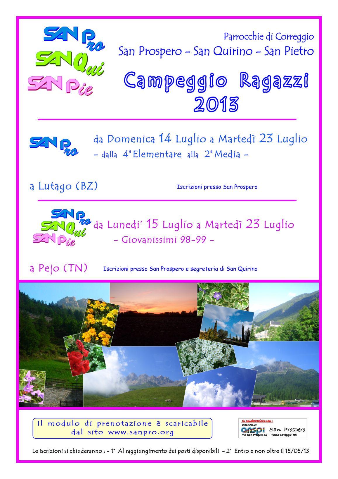 Campeggio Estivo Montagna Parrocchia San Prospero