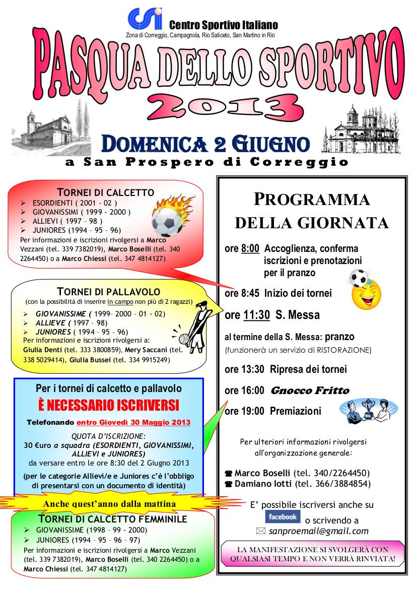Pasqua dello sportivo 2013 – Domenica 2 Giugno a San Prospero (Correggio)