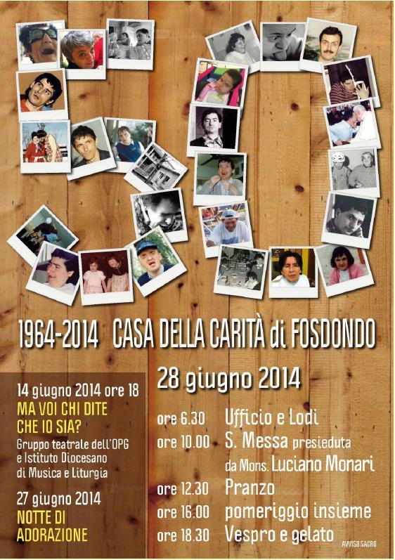 Festa per l'anniversario Casa della Carità 1964-2014